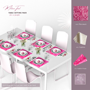 Pink Table Setting Pack for 10 People (Milano Pink Square) - Place Matters