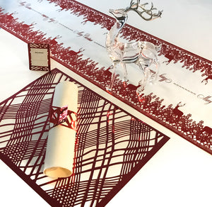 Christmas Table Runners (Red Reindeer Design) - Place Matters