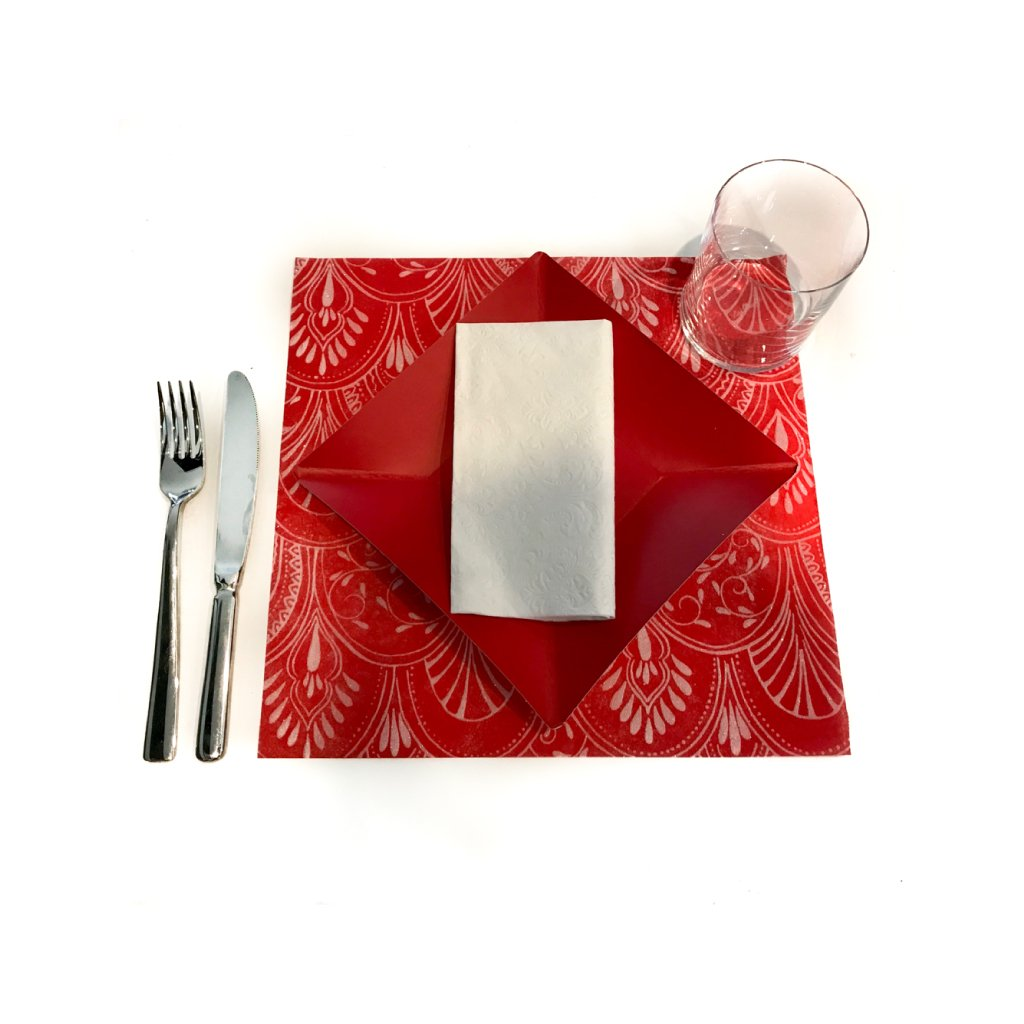 Red Placemats (Milano) Pack of 20 (Square) - Place Matters
