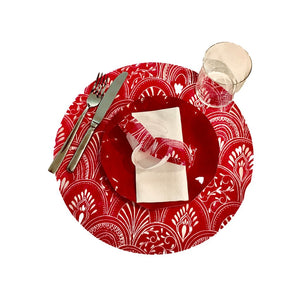 Red Placemats Milano) Pack of 20 (Round) - Place Matters