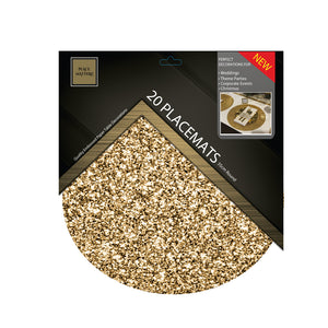 Gold Placemats Glitter (Round) - Place Matters