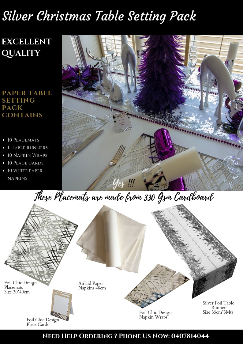 Silver Christmas Table Setting Pack - Place Matters
