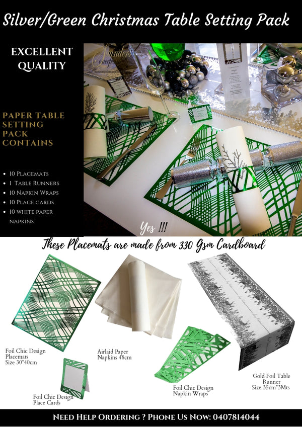 Silver/Green Christmas Table Setting Pack - Place Matters