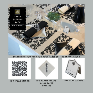 Black Table Setting Pack for 10 People (Royale Black Square) - Place Matters