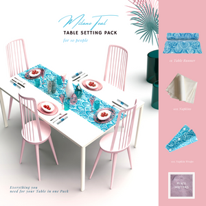Blue Table Setting Pack for 10 People (Milano Teal Table Runner) - Place Matters
