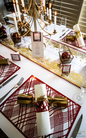 Gold/Red  Christmas Table Setting Pack Reindeer - Place Matters