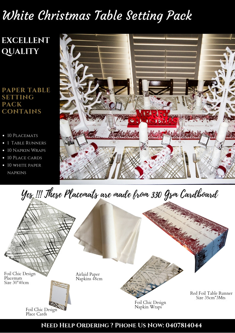 White Christmas Table Setting Pack - Place Matters
