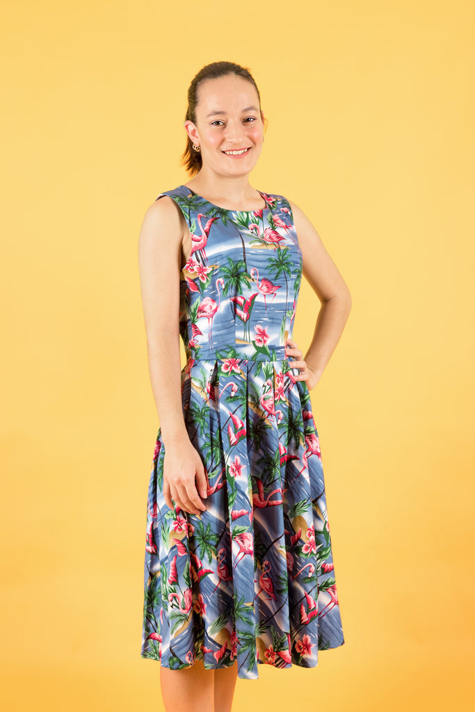 'ANNIE' BLUE FLAMINGO SWING DRESS