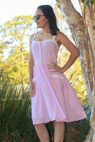 'CORINNA' PINK GINGHAM SWING DRESS