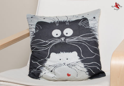 QUIRKY LOVE CATS CUSHION COVER