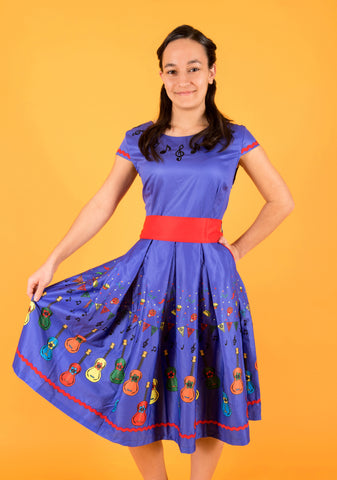 'BETHANY' BLUE GUITARS SWING DRESS