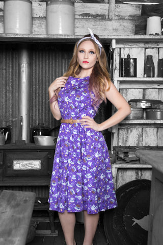 AUDREY PURPLE TEA & BISCUITS SWING DRESS BY LINDY BOP