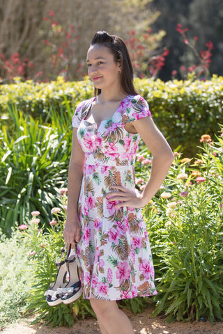 'CLAUDIA' PINK ORCHID FIFTIES STYLE SWING DRESS