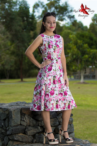 1950's AUDREY SPRING FLORAL DRESS