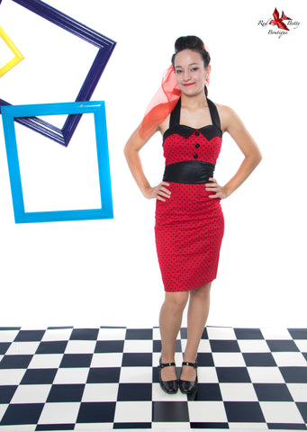RED BLACK POLKA DOT 40'S PENCIL DRESS BY HEARTS & ROSES LONDON