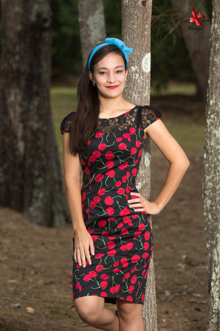 BLACK BOMBSHELL CHERRY WIGGLE DRESS BY HEARTS & ROSES LONDON
