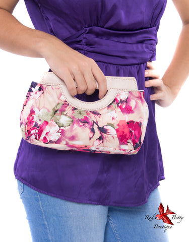 PINK FLORAL CLUTCH BY HEARTS & ROSES LONDON