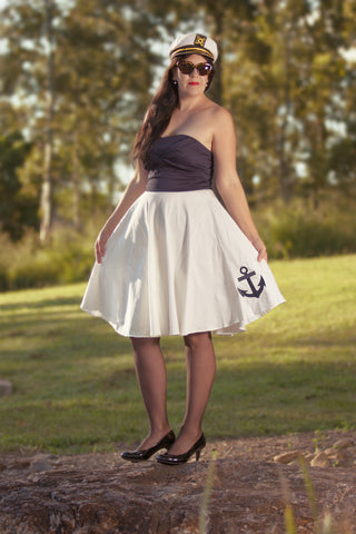 'MELISSA' BLUE & WHITE ANCHOR SWING DRESS