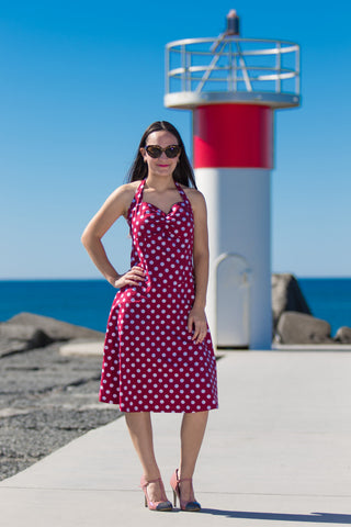 50's ROCKABILLY POLKA DOT DRESS RED BY CHICSTAR