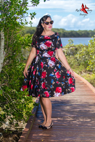 DARLENE 50'S FLORAL SWING DRESS BLACK BY DOLLY AND DOTTY