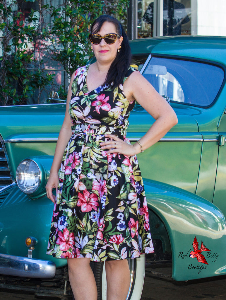 MAY V-NECK 50'S SWING DRESS TROPICAL BY DOLLY AND DOTTY