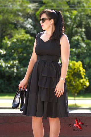 BLACK CASCADE SWING DRESS BY CHICSTAR