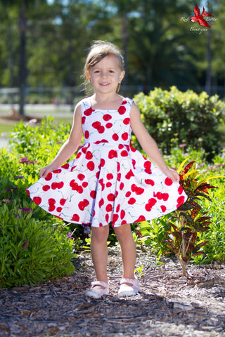 WHITE CHERRY KIDS SWING DRESS BY HEARTS & ROSES LONDON