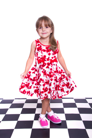 50'S KIDS RED FLORAL DRESS BY HEARTS & ROSES LONDON