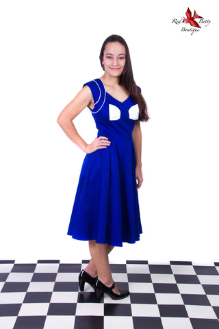 BLUE LADY HEPBURN BOW DRESS BY HEARTS & ROSES LONDON