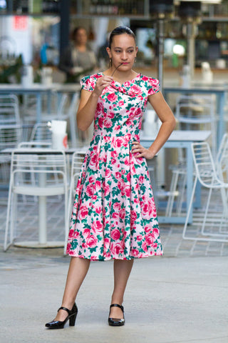 PINK ROSE FLORAL SWING DRESS BY HEARTS & ROSES LONDON