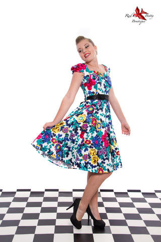 FREYA FLORAL DAY DRESS BY HEARTS & ROSES LONDON