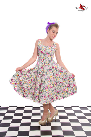 LILAC POSY FLORAL SWING DRESS BY HEARTS & ROSES LONDON