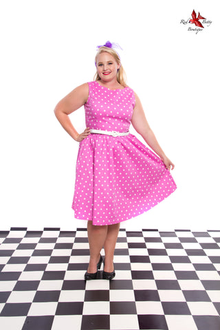 LINDY BOP 'SANDY' PINK POLKA DOT VINTAGE 1950's SWING DRESS