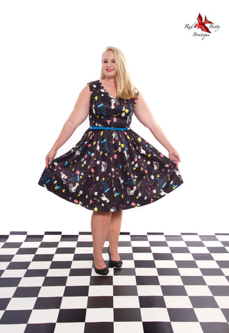 LINDY BOP 'DARIA' BLACK BIRDCAGE AND CAT PRINT SWING DRESS