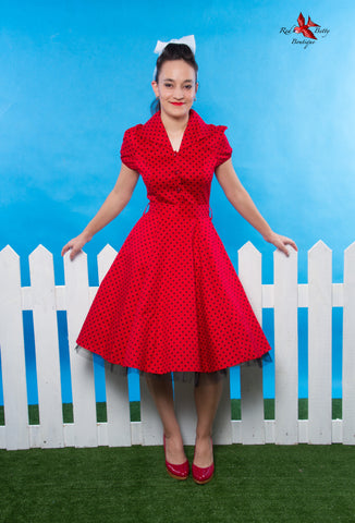 RED BLACK SMALL POLKA DOT TEA DRESS BY HEARTS & ROSES LONDON