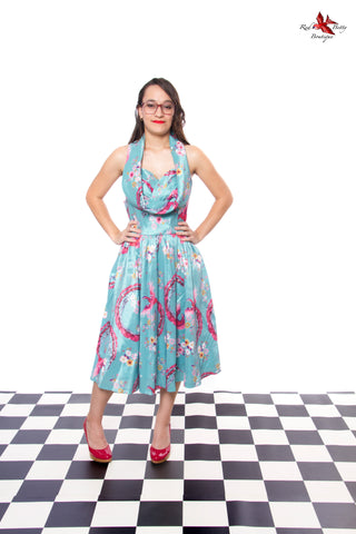 LINDY BOP 'ANGELICA' PEACOCK BLOSSOM OCCASION SWING DRESS