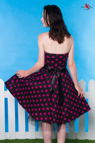 BLACK PURPLE POLKA DOT SWING DRESS BY HEARTS & ROSES LONDON