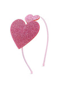 Studded Crystal Double Heart Headband