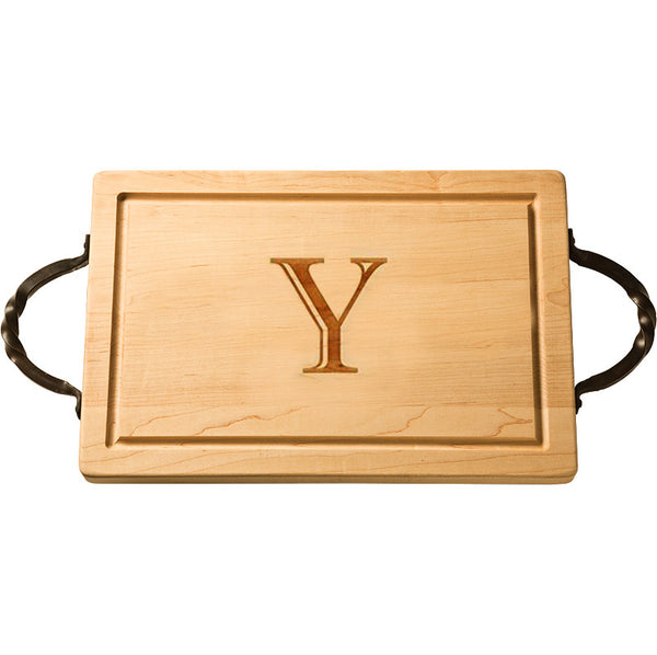 Personalized Rectangular Cutting Board with Handles  |  Medium