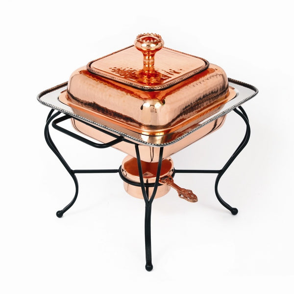 Copper Plate 2 Quart Square Chafing Dish