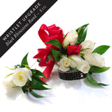Five Rose Corsage & Double Rose Boutonniere