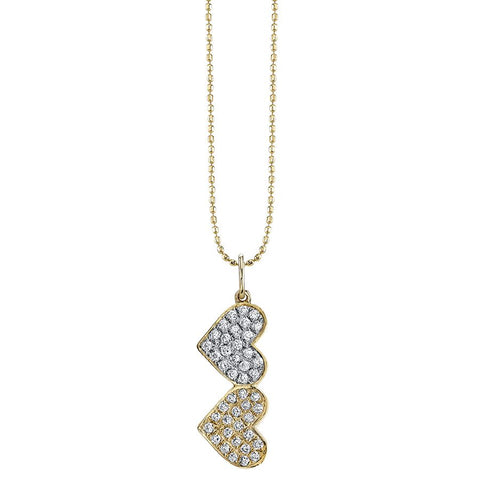 MEDIUM GOLD & PAVÉ DIAMOND DOUBLE HEART CHARM NECKLACE - RSVP Style