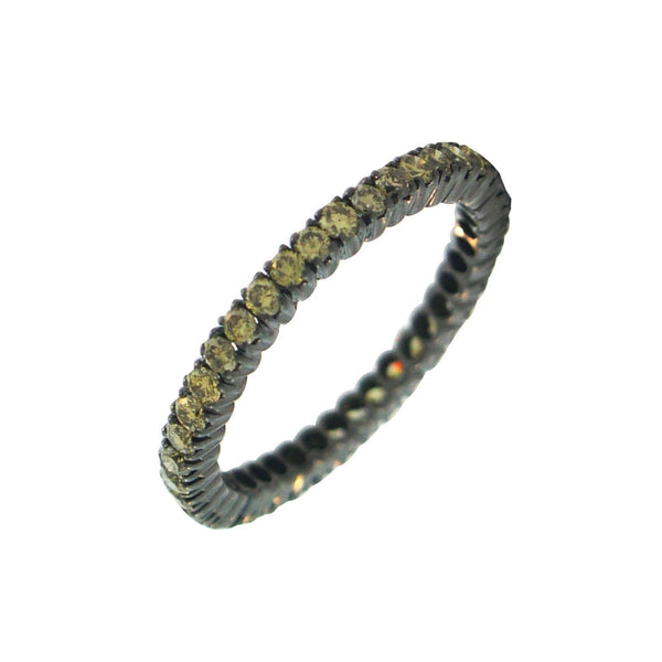 18K Blackened Gold Green Diamond Band - RSVP Style