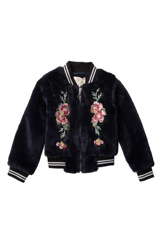 Navy Floral Patch Faux Fur Bomber