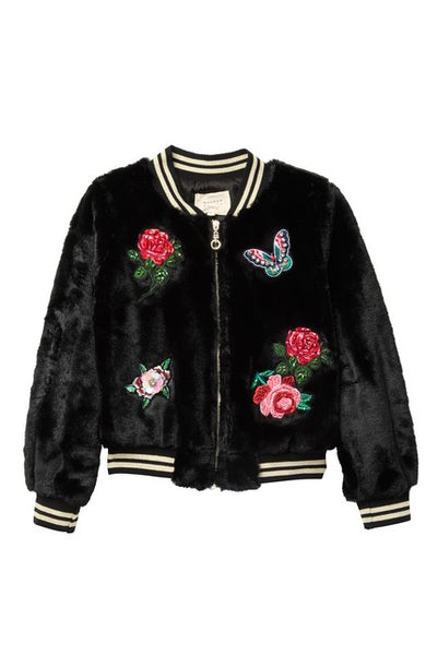 Black Embellished Patch Faux Fur Bomber - RSVP Style