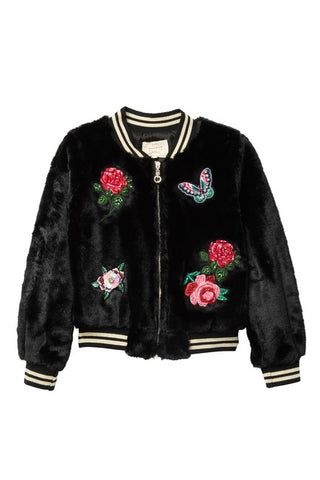 Black Embellished Patch Faux Fur Bomber, Hannah Banana - RSVP Style