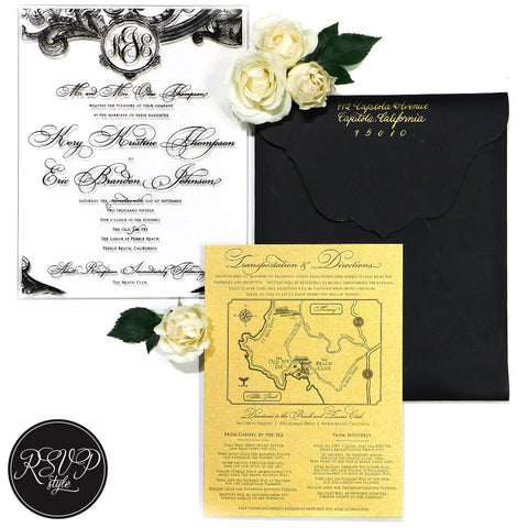 Elegant Acrylic Monogram Wedding Invitation Suite - RSVP Style