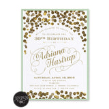Elegant Confetti Birthday Invitation