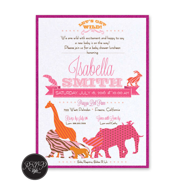 Animal Menagerie Baby Shower Invitation, RSVP Style - RSVP Style