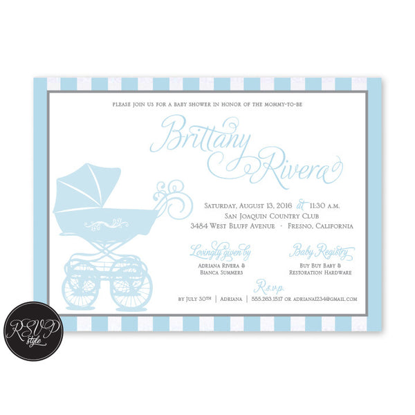 Carriage Stripes Baby Shower Invitation - RSVP Style
